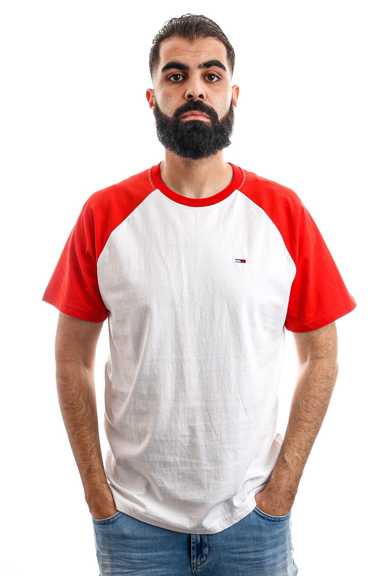 Afbeelding van Tommy Hilfiger T-shirt TJM CONTRAST SLEEVE, 667 Flame Scarlet / Multi DM0DM06545