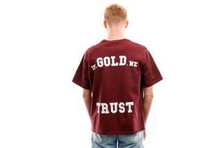 Foto van In Gold We Trust T Shirt Overside Tee Basic Print Black Print Frond Hot chocolate IGWT-003