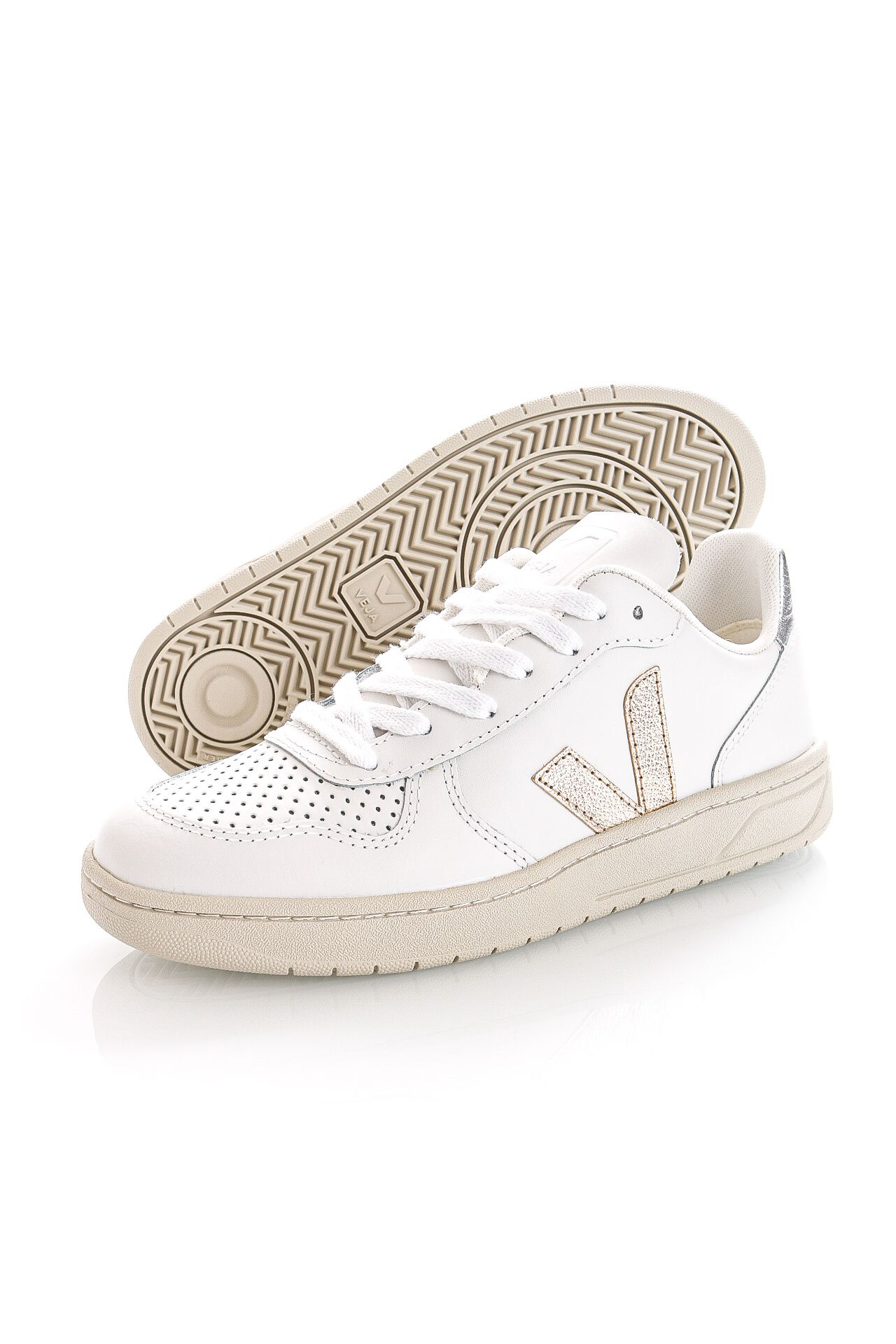 Afbeelding van Veja Sneakers V-10 LEATHER EXTRA-WHITE PLATINE VX0202605A