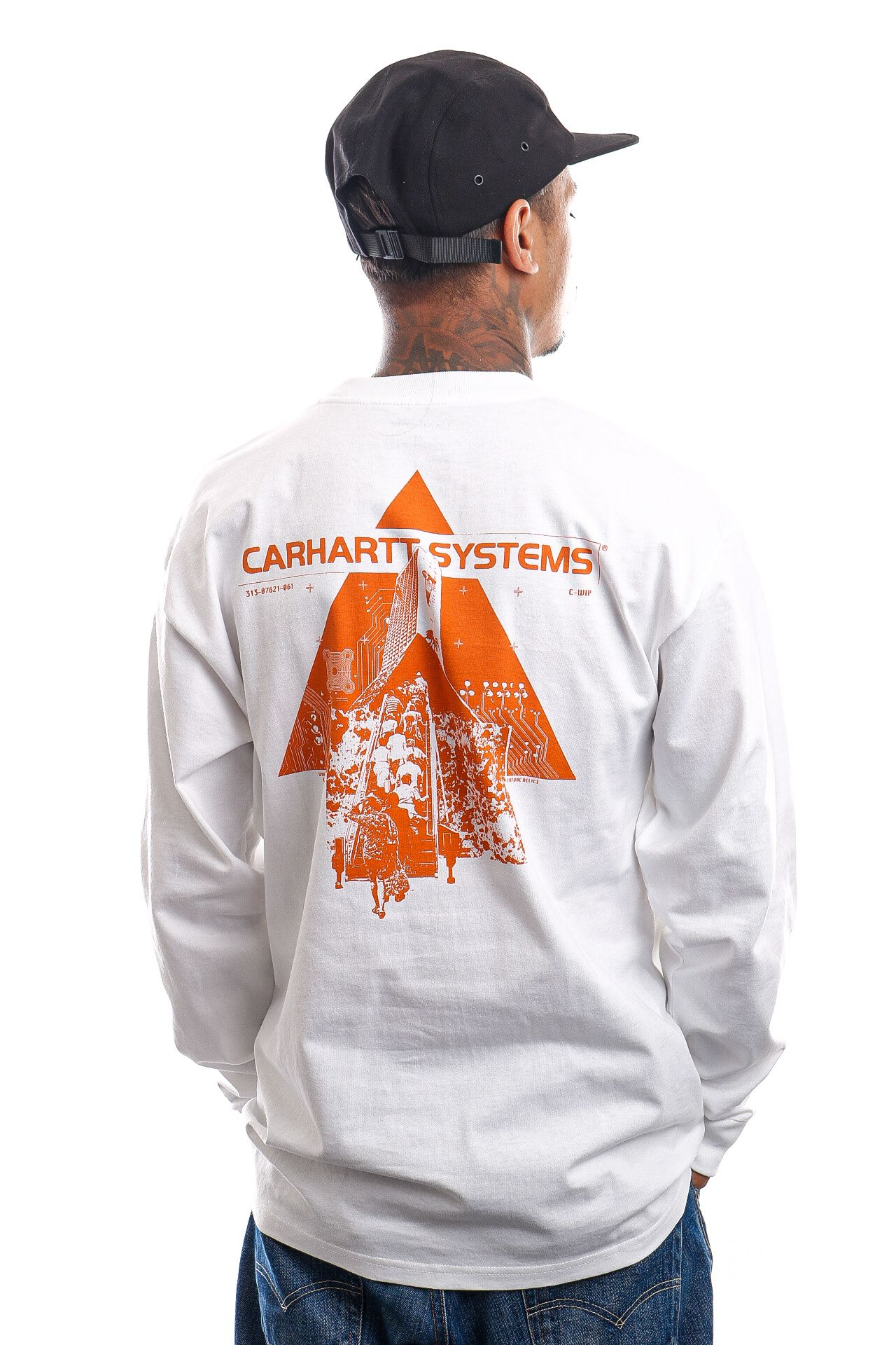 Afbeelding van Carhartt Longsleeve L/S Pyramid White / Orange I029622