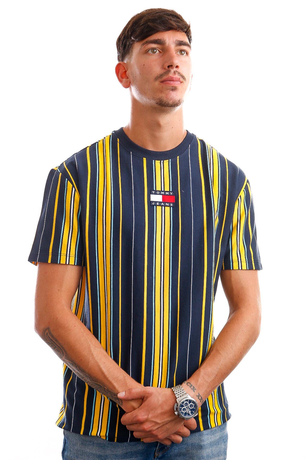 Afbeelding van Tommy Jeans T-Shirt TJM CENTRE BADGE STR Twilight Navy / Multi Stripe DM0DM11006