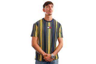 Foto van Tommy Jeans T-Shirt TJM CENTRE BADGE STR Twilight Navy / Multi Stripe DM0DM11006