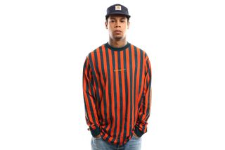 Foto van Carhartt Wip L/S Barnett T-Shirt I027073 Longsleeve Barnett Stripe, Brick Orange / Duck Blue / Colza
