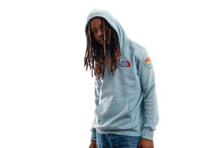 Foto van The North Face Hooded Men's Novelty Patch Pullover Hooded Tourmaline Blue NF0A55UGBDT1