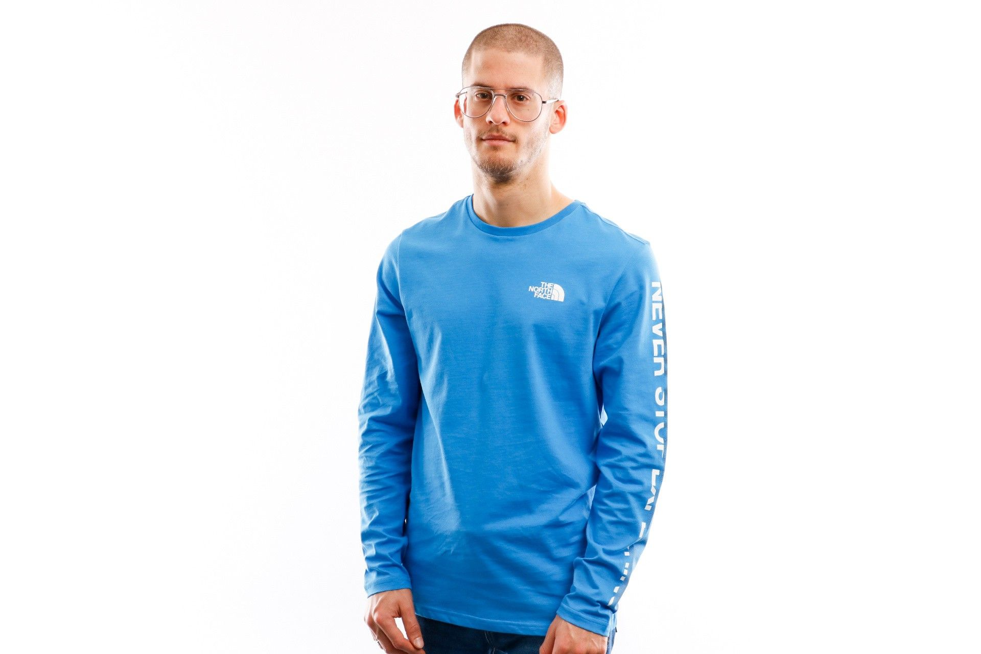 Afbeelding van The North Face Longsleeve Men's L/S Graphic Flow 1 Clear Lake Blue/Tnf White NF0A4927ME