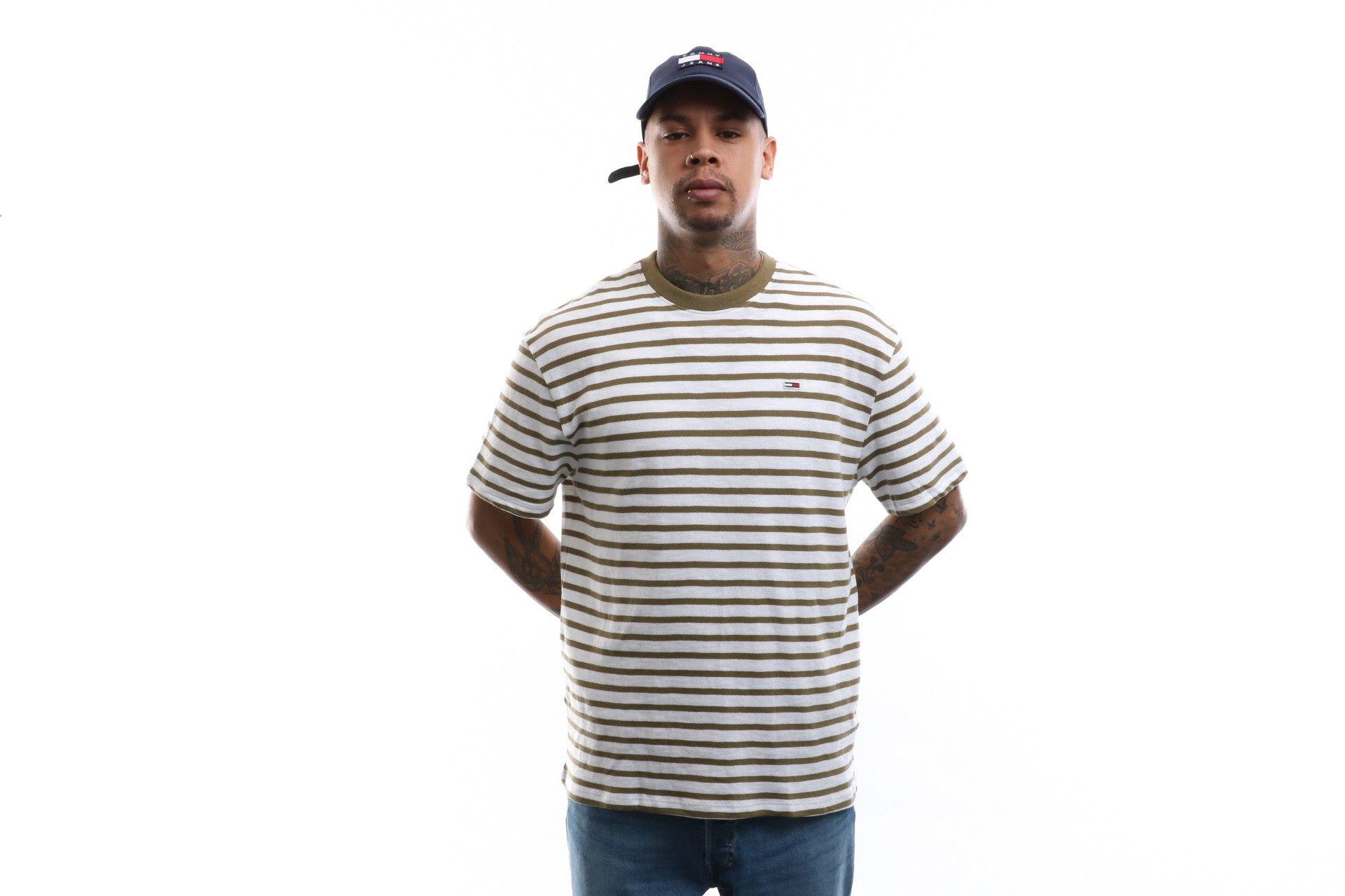 Afbeelding van Tommy Hilfiger T-shirt Tjm Tommy Stripe Tee Uniform Olive / White DM0DM07808
