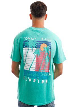 Afbeelding van Tommy Jeans T-Shirt TJM PALM TREE GRAPHIC Grassy Green DM0DM10896