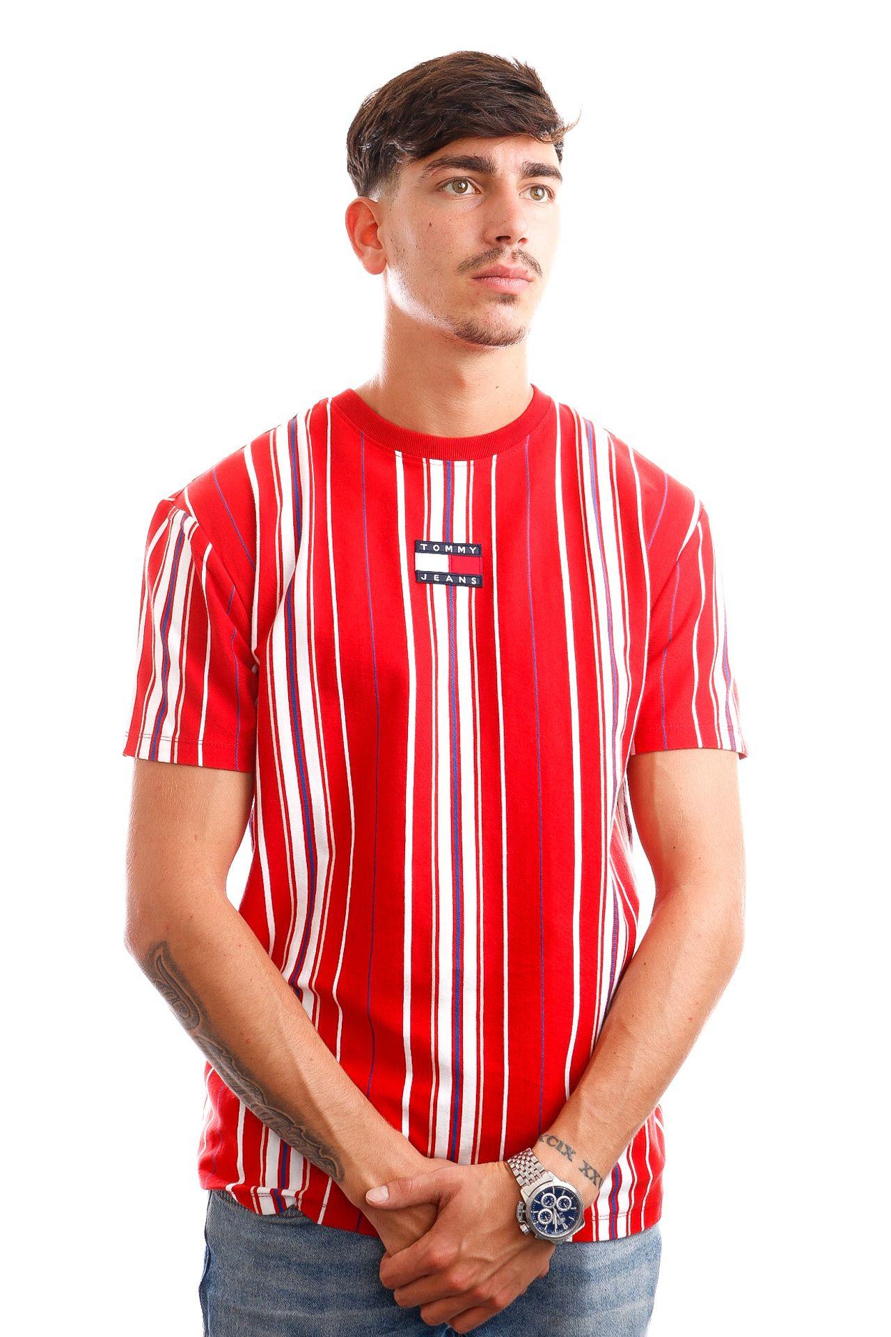 Afbeelding van Tommy Jeans T-Shirt TJM CENTRE BADGE STR Deep Crimson / Multi Stripe DM0DM11006