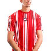 Tommy Jeans T-Shirt TJM CENTRE BADGE STR Deep Crimson / Multi Stripe DM0DM11006
