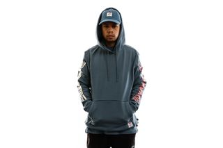 Foto van Herschel Hooded Kevin Butler | Men's Pullover Hoodie Hands Blue Mirage 50033-00716