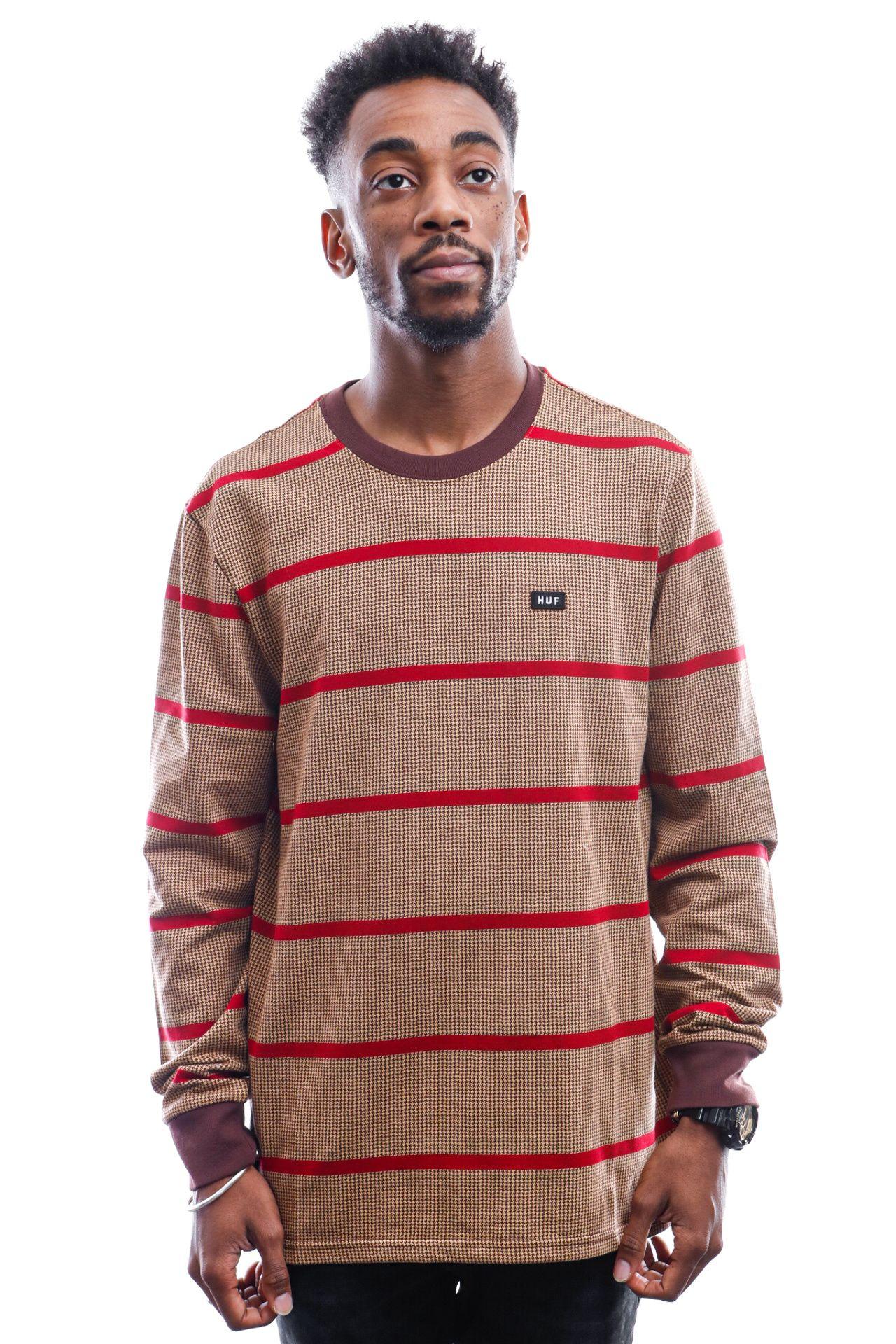 Afbeelding van HUF Long Sleeve Houndstooth Stripe L/S Knit Deep Mahogany Kn00207-Dpmhg