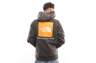 Foto van The North Face M Raglan Red Box Hd T92Zwuv7V Hooded Asphalt Gr/Zinnia Orange