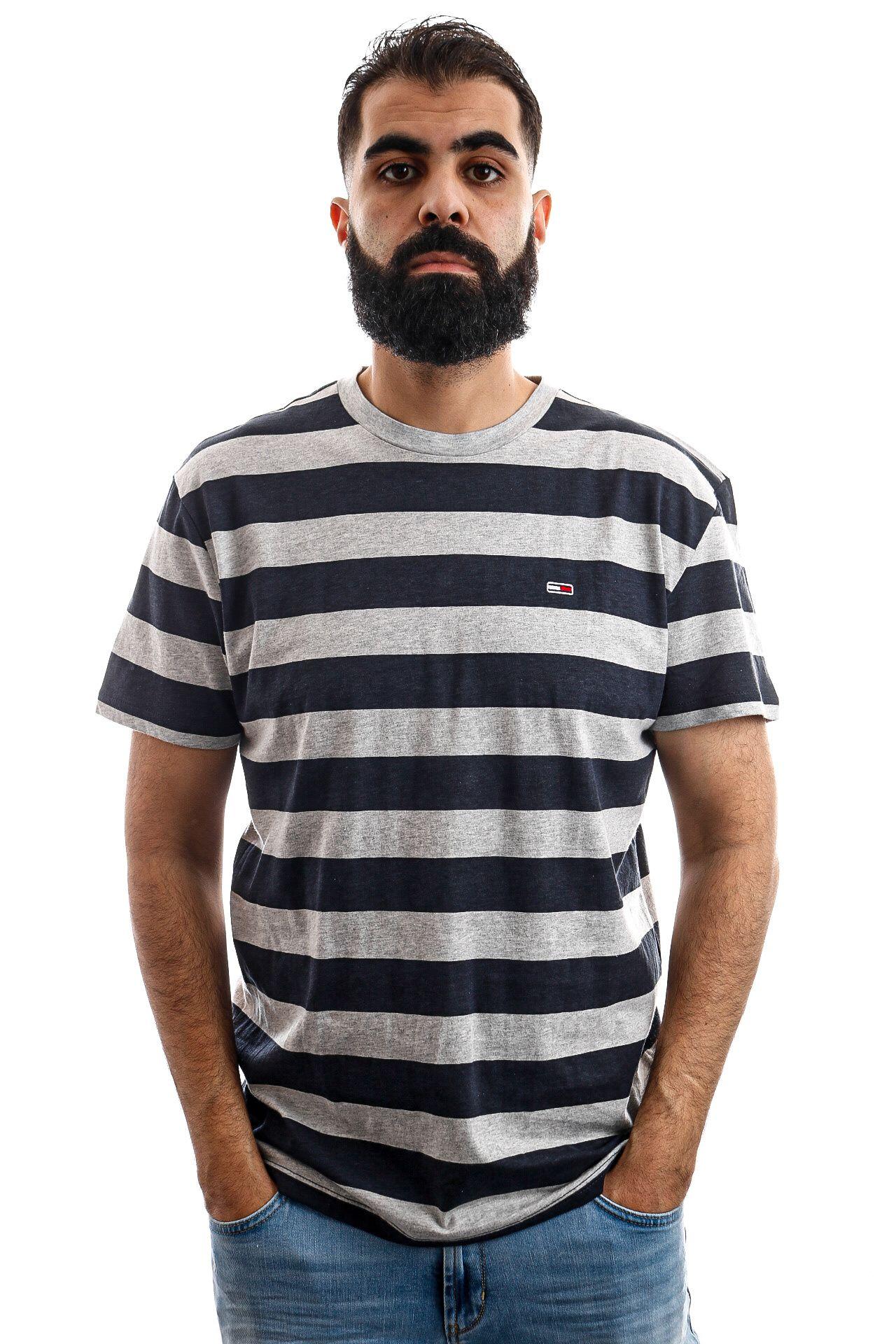 Afbeelding van Tommy Hilfiger T-shirt TJM HEATHER STRIPE T, 002 Black Iris Htr DM0DM06542