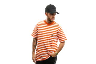 Foto van Carhartt T-shirt S/S Scotty Pocket T-Shirt Scotty Stripe, Clockwork / White I027732
