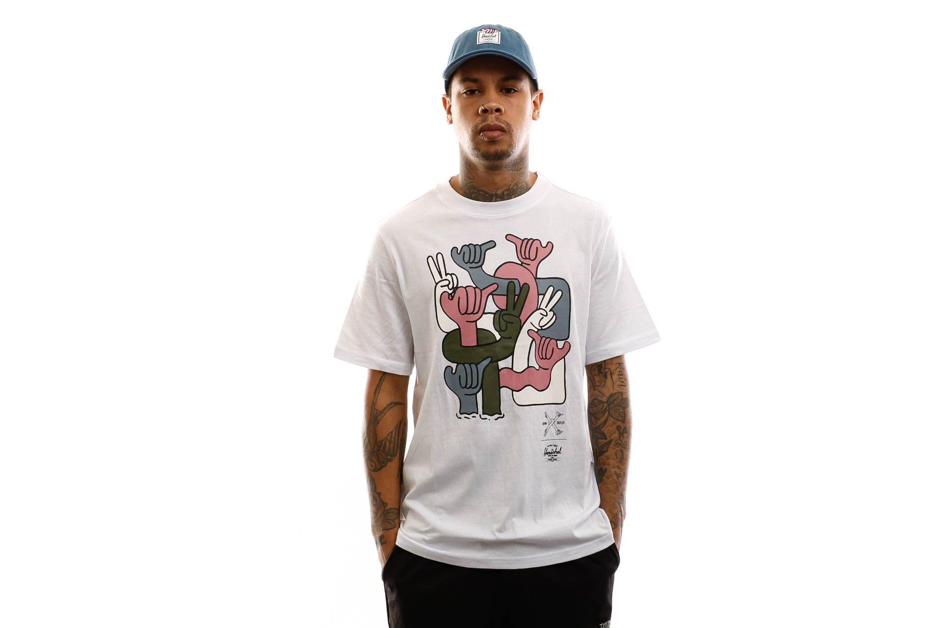 Afbeelding van Herschel T-shirt Kevin Butler | Men's Tee Group Hands Bright White 50027-00565