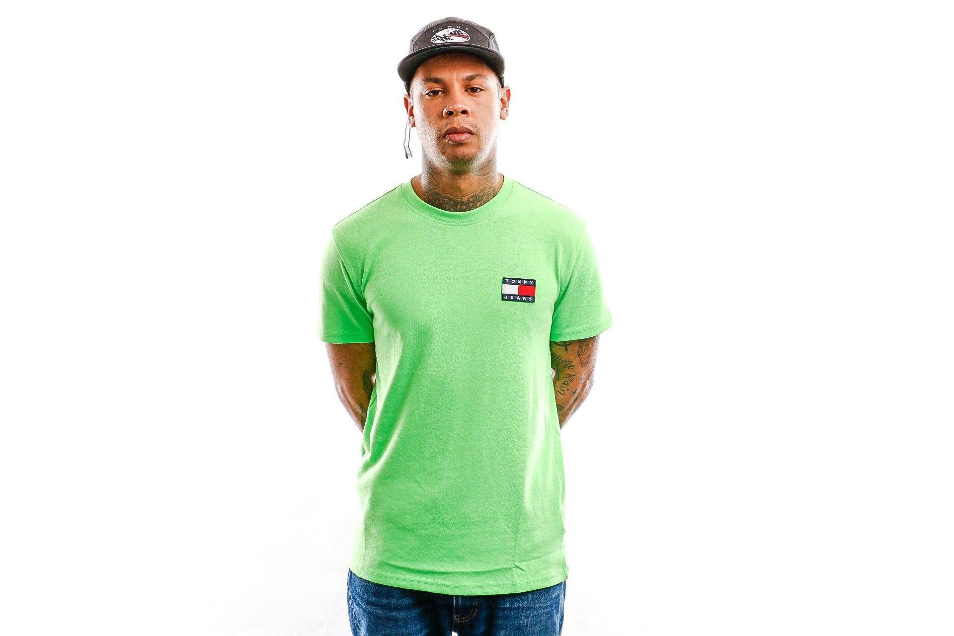 Afbeelding van Tommy Hilfiger T Shirt Tjm Tommy Badge Neon Tee Green Gecko DM0DM08123