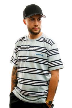 Afbeelding van Woodbird T-shirt Olei Stripe Tee Mint-Navy-White 2026-410