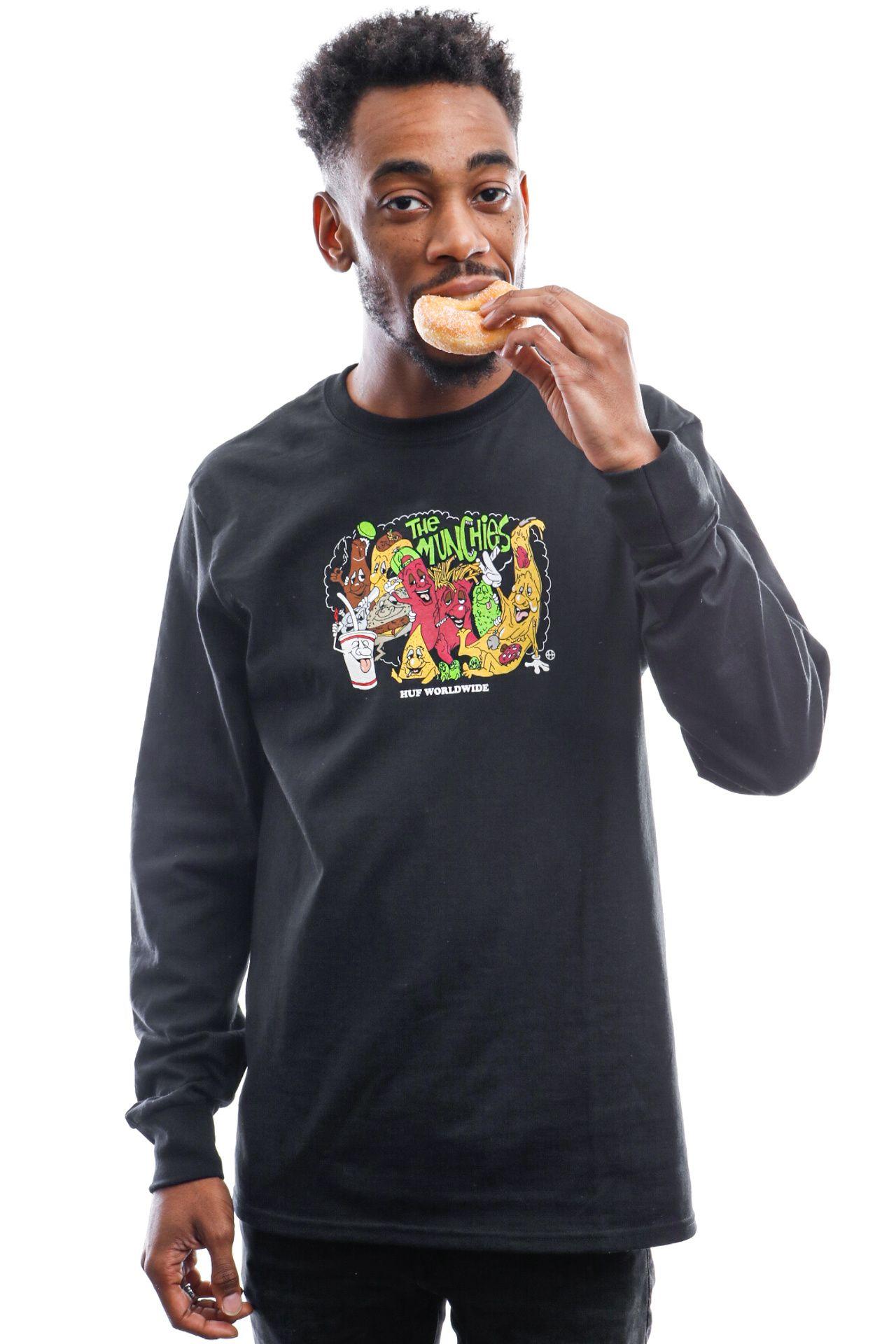 Afbeelding van HUF Long Sleeve The Munchies L/S Tee Black Ts01167-Black