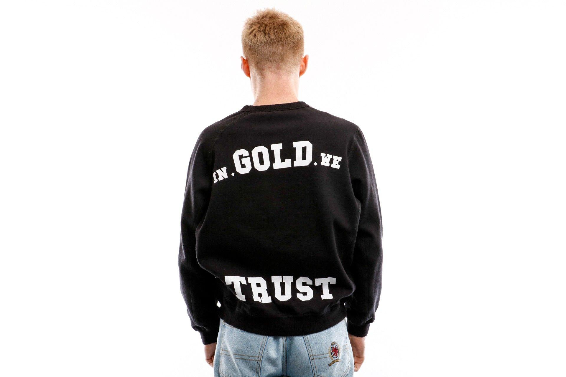 Afbeelding van In Gold We Trust Crewneck Crewneck Verwassen Black / White IGWTC-002