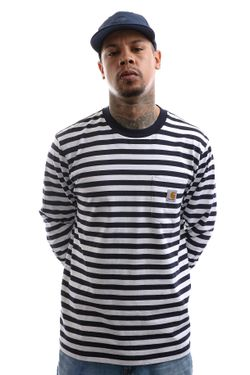 Afbeelding van Carhartt Longsleeve L/S Scotty Pocket T-Shirt Scotty Stripe, Dark Navy / White I027733