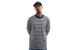 Foto van Carhartt Longsleeve L/S Scotty Pocket T-Shirt Scotty Stripe, Dark Navy / White I027733
