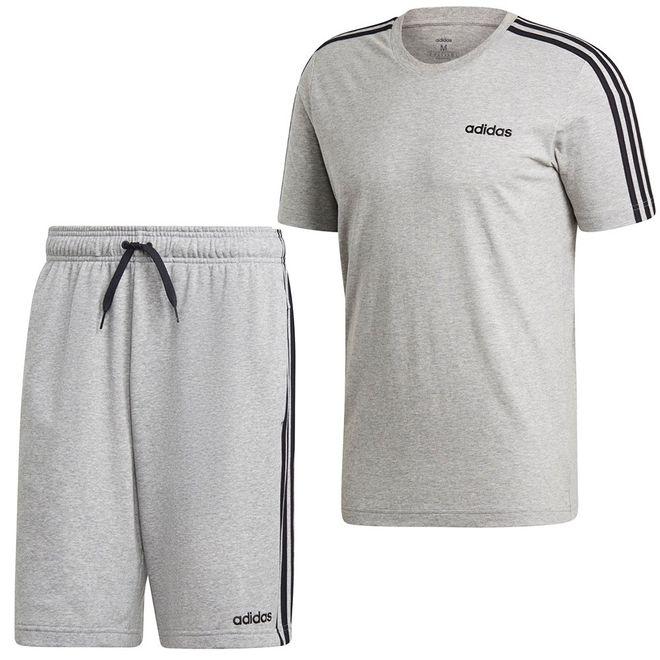 Afbeelding van Adidas Essentials 3 Stripes Set Medium Grey