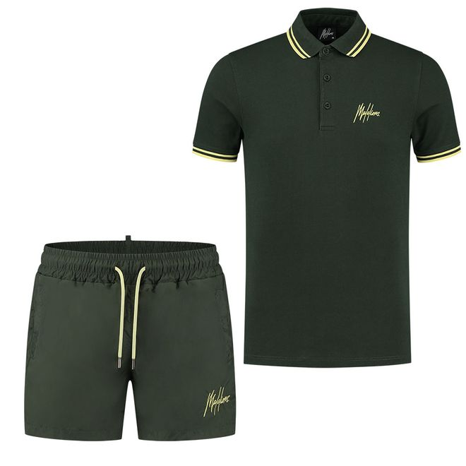 Afbeelding van Malelions Din Polo Set Light Army Yellow