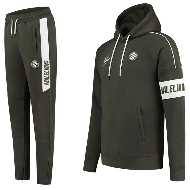 Afbeelding van Malelions Sport Coach Hoodie Set Army Green White