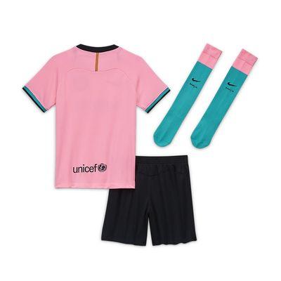 Foto van FC Barcelona 2020/21 Stadium Derde Minikit Kids Pink