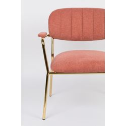 White Label Living Lounge Chair Jolien Arm Gold/Pink