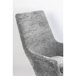 White Label Living Lounge Chair Bruno Rib Light Grey