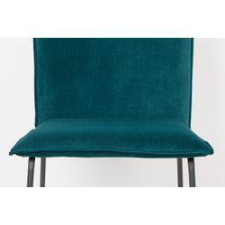 White Label Living Chair Floke Velvet Petrol