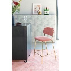 White Label Living Counter Stool Jolien Gold/Pink