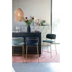 White Label Living Counter Stool Jolien Gold/Dark Blue