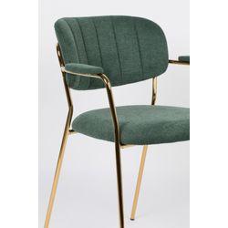 White Label Living Armchair Jolien Gold/Dark Green