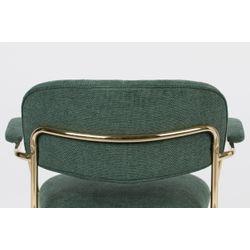 White Label Living Lounge Chair Jolien Arm Gold/Dark Green
