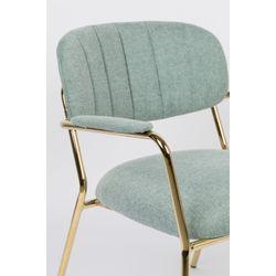 White Label Living Lounge Chair Jolien Arm Gold/Light Green