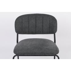 White Label Living Lounge Chair Jolien Black/Dark Grey