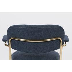 White Label Living Lounge Chair Jolien Arm Gold/Dark Blue