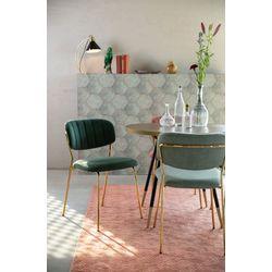 White Label Living Chair Jolien Gold/Dark Green