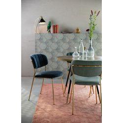 White Label Living Chair Jolien Gold/Dark Blue