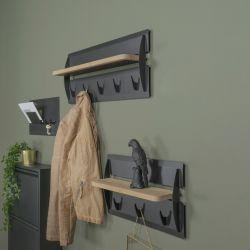 Spinder Design Jefferson Wood 5 Kapstokken Zwart / Eik