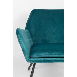 White Label Living Lounge Chair Bon Velvet Blue
