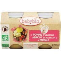 Babybio Dessert appel abrikoos graanvlokken 130 gram