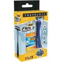 BIC Travelkit Flex 3 + Comfort Foam Sensitive 90 ml