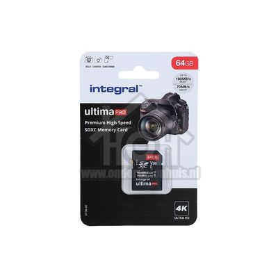 Foto van Integral Memory card UltimaPro X2, Class 10 V30 SDXC card 64GB 100MB/s INSDX64G-100/70V30