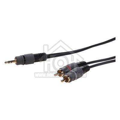 Easyfiks Jack - Tulp Kabel Jack 3.5mm Stereo Male - 2x Tulp RCA Male 5.0 Meter, Verguld