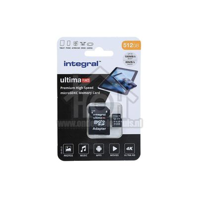 Integral Memory card UltimaPro High Speed Class 10 (incl.SD adapter) Micro SDHC card 512GB