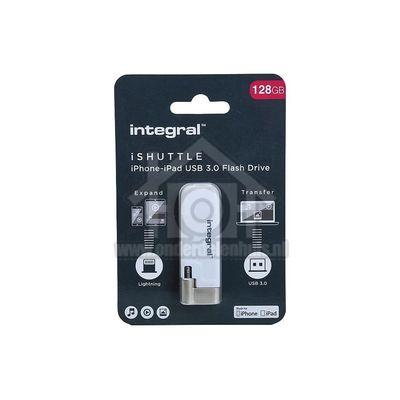 Foto van Integral Memory stick iShuttle, Lightning Flash Drive USB 3.0, 128GB INFD128GBISHUTTLE