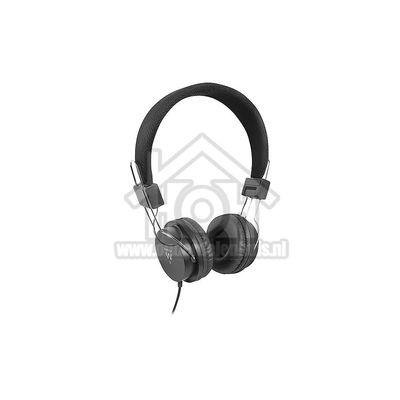 Ewent Hoofdtelefoon Kunstlederen oorkussens Stereo 3.5mm plug Zwart EW3573